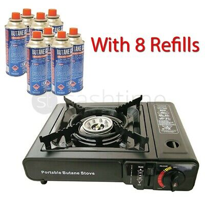 Portable Gas Stove Cooker Bruner Camping Garden + 8 Butane Canisters Refills New