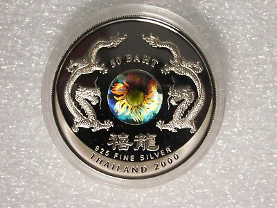 Thailand 50 Baht Silver Proof 2000 Millennium Year of the Dragon with Holograph