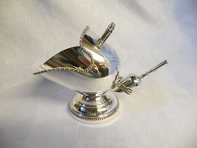 Vintage Silver Plated Hand Engraved Sugar Scuttle & Scoop England