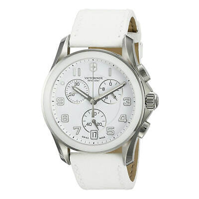 Victorinox Swiss Army Men's Watch Chrono Classic White Dial Leather Strap 241500