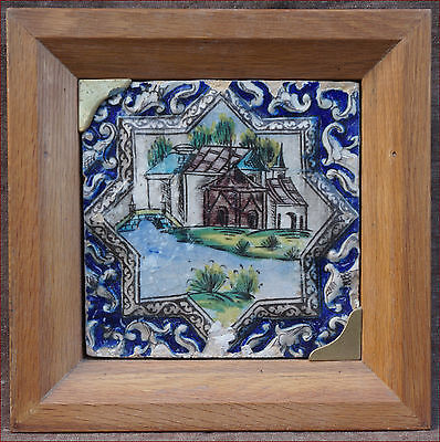 Antique Qajar Persian Tile Palace Scene Enameled Pottery Framed 19th Century