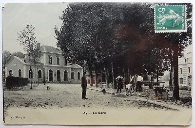 CPA Ay, Marne, Aÿ-Champagne, 1913, la Gare, émaillographie