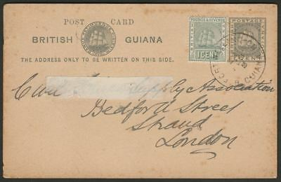 British Guiana 1905 KEVII Ship 1c Uprating 1c PS Postcard FORT WELLINGTON - UK