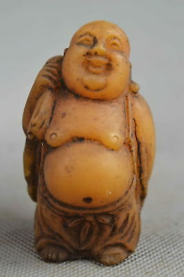 Collectable Handwork Decor Old Shoushan Stone Carve Buddha Hold Wealthy Statue