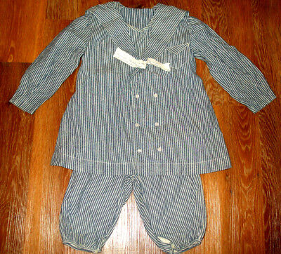 VICTORIAN Early 1900s Blue Stripe Boys Sunday/SAILOR SUIT Dbl Breasted~Knickers