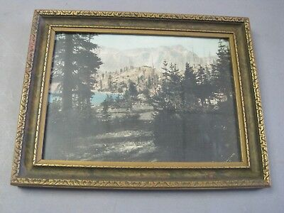 Early California Hand Tinted Photograph Signed & Framed under Glass Sierra Lake