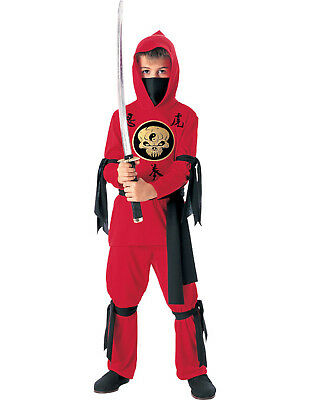 Ninja Boys Karate Kid Red Hooded Scarf Halloween Childs Fancy Dress Up Costume L