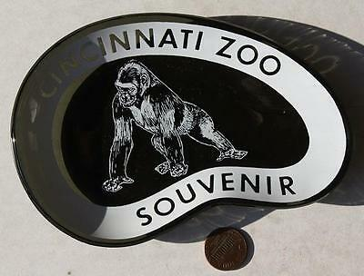 COOL 1960s Era Ohio Cincinnati Zoo Gorilla smoked glass ashtray-VINTAGE item!