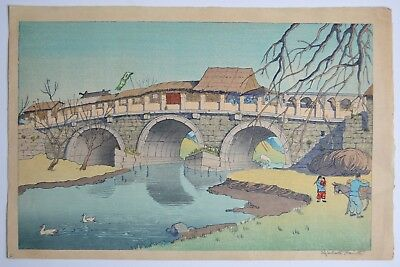 ELIZABETH KEITH woodblock print Wayside Bridge Peking CHINA 1925