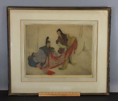 Antique Pencil Signed ELYSE ASHE LORD Japanese Figures Aquatint Etching Print NR