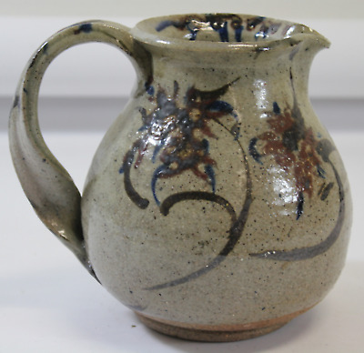 Vintage Ceramic Stoneware Pitcher Signed Art Glaze Gray Floral Flowers (690)