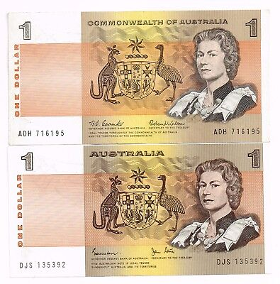 LOT OF TWO 1966-83 AUSTRALIA ONE DOLLAR NOTES - p37a,42d