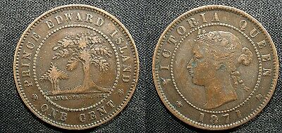 1871 Prince Edward Island Cent (coin alignment) - Solid VF   stk#fjp748