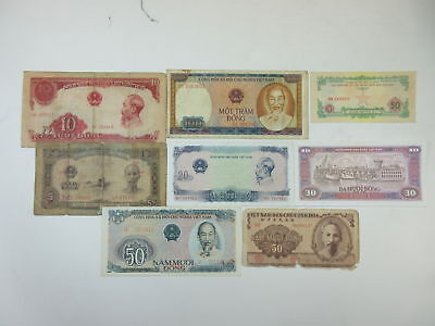 Vietnam 50 Xu 5-10-20-30-50-100 Dong 1950s to 1980s Issues (8 pcs, VG-UNC)