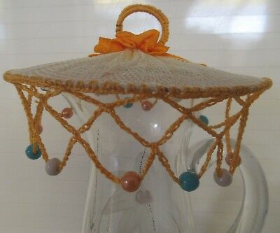 Vintage MILK JUG COVER Hand-made netting centre, beaded edges A Bit Different