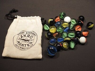 Vintage Style Akro Agates Marble cloth bag with cat eye marbles