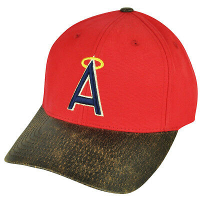 42c608aa0e357 MLB American Needle Los Angeles Angels of Anaheim Sun Buckle Red Hat Cap  Suede