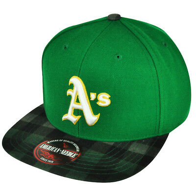 MLB American Needle Oakland Athletics Two Toned Green Plaid Strap Buckle Hat  Cap 13f71acc4ae4