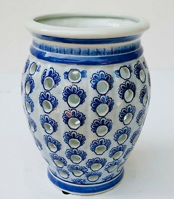 "Chinese Asian Pierced Porcelain Blue and White Vase 10"" TALL"