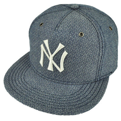 71b8d56bb8708 MLB American Needle New York Yankees Denim Blue Flat Bill Clip Buckle Hat  Cap