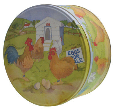 NEW Rooster Chickens Hen House Emma Ball Round Cake Tin
