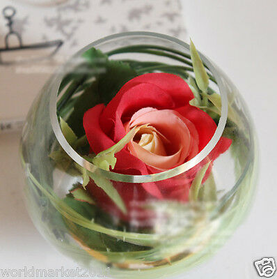 New Modern Transparent Glass Vase With Red Roses Household Decoration 3 PCS