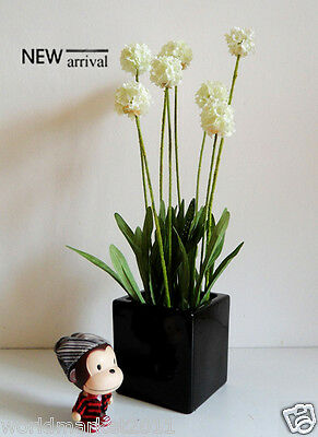 New Simple 2 Colors Square Vase With 2 Colors Simulation Flowers Decoration