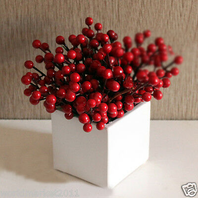 New Simple White Square Glass Vase With Acacia Red Fruit Household Decoration
