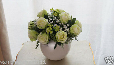 New Home Decoration Height-33cm Silver Vase+ Green High Emulation Cloth Flowers