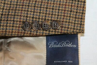 BROOKS BROTHERS 40R Made in USA Multi-Color Houndstooth Wool Blazer Men's