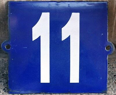 Large old blue French house number 11 door gate plate plaque enamel metal sign