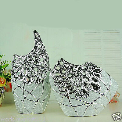 Modern Silver Ceramic Frosted Hollow Out Home Accessories Decoration Vase 2 Pcs