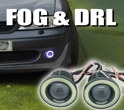 Projector Cob LED Fog DRL Spot Lights Angel Eyes Pair Universal 3 sizes colours