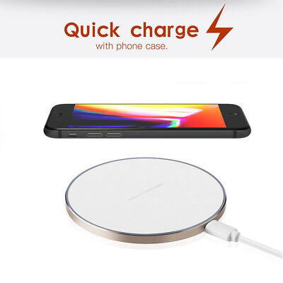 UK QI Wireless Fast Charger Charging Pad Mat Metal For Apple iPhone X 10 8 Plus