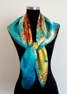 Beautiful Art Design 35 X 35 100% Pure Silk Square Scarf
