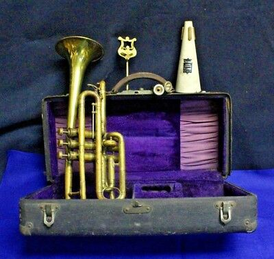 1900 French World Fair of Paris Couesnon Authentic Cornet IN THE ORIGINAL CASE