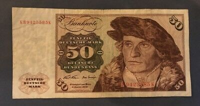50 DM Schein Deutsche Mark German Bundesbank 1970 original Geldschein Banknote!