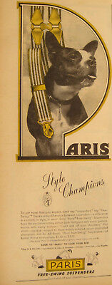 "PARIS Suspenders Print AD Boston Terrier 1946 ""Style Champions"" Free-Swing 1940s"