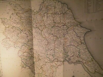 Yorkshire-1840S Antique Map:large:handcolour Engraving:lewis,creighton,starling