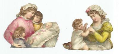 H09 - Diecut Victorian Scraps - Mothers With Their Babies & Children - Oblaten
