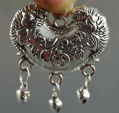 Collectable Handwork Decor Miao Silver Carve Roar Tiger Wealthy Lucky Pendant