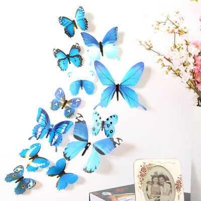 12pcs Decal Wall Stickers Home Decorations 3D Butterfly Rainbow Blue