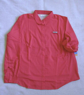 Columbia PFG TAMIAMI L/S Shirt  Women's 3X  NEW  Bright Rose