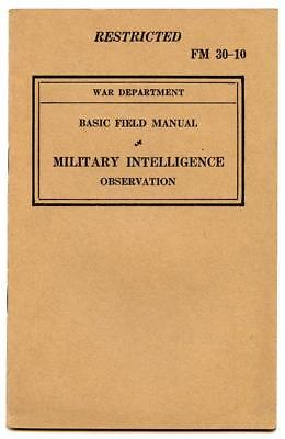 WWII US Army Military Intelligence Observation Basic Field Man. FM 30-10 Book