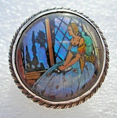 Pretty vintage Silver Art Deco brooch Lady at window turquoise butterfly wing