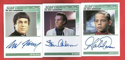Lot of 7 Star Trek Autograph Cards: 6 Complete TNG Series 2 + 1 Quotable TNG