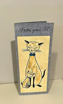 Vtg Handmade Renea Greeting Card Mother's Day Siamese Cat Kitten Rhinestones