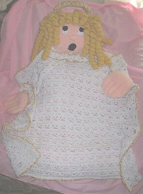 Blanket Buddy Angel Halo Golden Curls Handmade Crochet Unique One of a Kind New