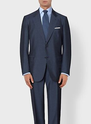 NEW! 2018 Blue Stripe BRIONI 2 Button Suit Wool Silk 44 R/54 eu NWT $6560