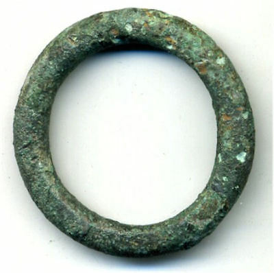 Huge (37 mm, 11.3 g.) bronze Ancient Celtic ring money, 800-500 BC, Europe